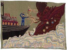 Combate naval I.  1964.  134,5 x 179 cm.  Yute teñido y bordado con lanigrafía.  Fundación Violeta Parra. Art And Illustration, Vision Art, Textile Artists, Weaving, Museum, Diy Crafts, Embroidery, Stitch, Photo Walls