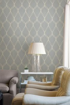 gold and duck egg blue striped wallpaper