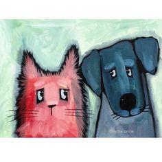 Mee & Ewe Cat & Dog original acrylic on canvas sparkling pet painting – Nettie Price Sparkling Art