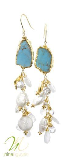 Nina Nguyen Designs #turquoise and #pearl earrings