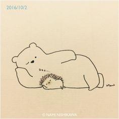 Il·lustracions de Nami Nishikawa: oda a l'amistat Hedgehog Day, Hedgehog Drawing, Cute Hedgehog, Cute Animal Drawings, Cartoon Drawings, Cute Drawings, Dibujos Cute, Cute Illustration, Hedgehog Illustration