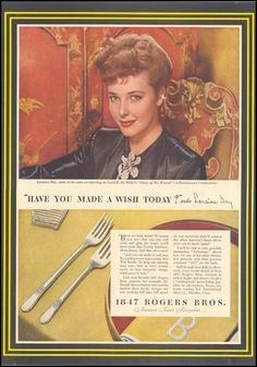 """Have you made a wish today?"" asks Laraine Day, International Silver Co., Life 02/28/1944"