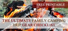 Free Printable Family Camping Trip Checklist