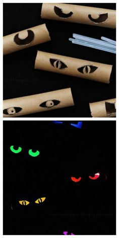 All Eyes Are On You! Make spooky eyes from toilet paper rolls and glow-sticks. This is a great Halloween DIY crafts for kids. Soirée Halloween, Adornos Halloween, Holidays Halloween, Halloween Treats, Diy Halloween Effects, Haloween Craft, Dollar Store Halloween, Easy Halloween Crafts, Halloween Haunted Houses