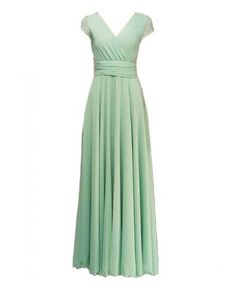 Green Crossed V Neckline Chiffon Dress with Fitted High Waist