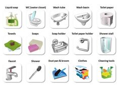 In the Bathroom Vocabulary in English - ESLBuzz Learning English English Study, English Words, English Grammar, Canadian English, Grammar Book, Learn English For Free, Improve Your English, English Resources, English Lessons