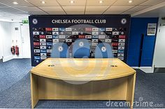 In the press-room at Stamford Bridge stadium - the official arena of FC Chelsea
