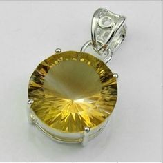 November Birthstone! 19 carats Sterling silver Yellow Topaz Pendant .   Size of stone is 15x15mm.
