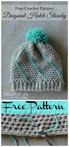 Easy Crochet Diagonal Hatch Slouchy Hat Free Pattern