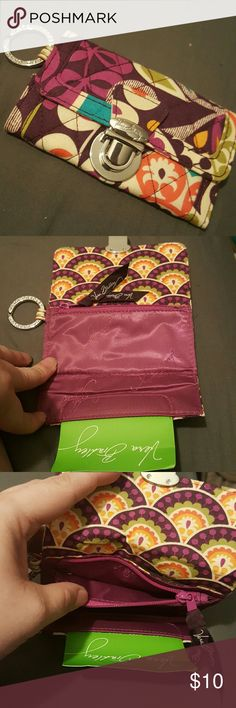 Vera Bradley ID Keychain with card holder ID Keychain with CC/ college meal card holder.  Zipper for change/ money.  Never been used. New without tag. Vera Bradley Bags Wallets