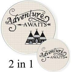 Buy 2 get 1 free.  Adventure awaits - Cross Stitch Pattern. Modern Cross Stitch Pattern. INSTANT DOWNLOAD.