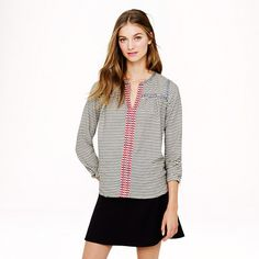 Embroidered peasant top in stripe - tops & blouses - Women's shirts & tops - J.Crew