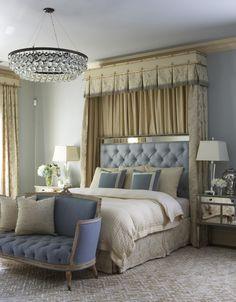 love colors & light fixture, but too formal for me. maybe rustic version? Interior Design ~ Rinfret, Ltd. ~ Romantic Bedroom Design