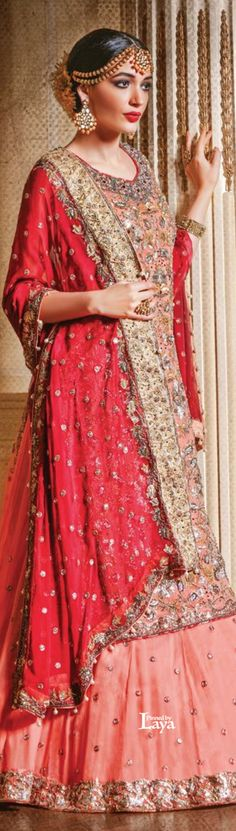 Indian bridal lehenga and jewelry. Statement maang tikka and earrings. Bridal fashion.