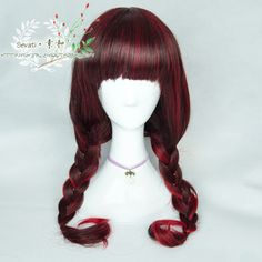 ● prime and ● Japanese AMO Harajuku Gothic punk lolita black and red mixed doubles color small demon female scroll wig - Taobao