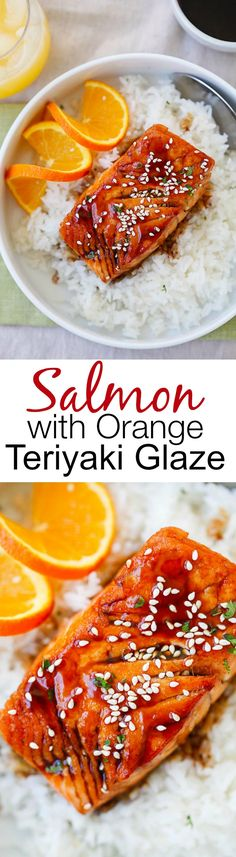 with Orange Teriyaki Glaze – the easiest & tastiest salmon you'll ever make. Delicious salmon with tangy, sweet & savory orange teriyaki sauce Fish Recipes, Seafood Recipes, Asian Recipes, Great Recipes, Cooking Recipes, Healthy Recipes, Healthy Baking, Salmon Dishes, Fish Dishes