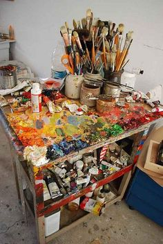 Artist and Studio --wonderful blog However ... check out the Mod Podge right on the top!!