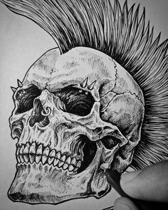 Wip… Commission work for ? Punk Tattoo, Skull Tattoos, Body Art Tattoos, Tattoo Ink, Arte Punk, Punk Art, Rose Drawing Tattoo, Tattoo Sketches, Gothic Drawings