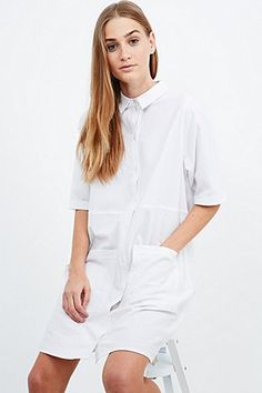 BDG Double Pocket Shirt Dress in White - Urban Outfitters