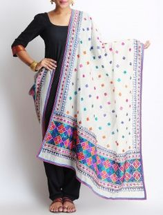 White-Multi-Color Chanderi Phulkari Dupatta