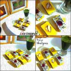Snack of the day! Mango and Dragon Fruit stacks topped with almond,cranberry and drizzled with agave. Wheatgrass shot on the side.