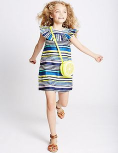 Pure Cotton Striped Dress (3-14 Years) | M&S