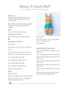 a knit and crochet community - Ravelry: Purchase from Store: Esther Braithwaite Designs - Knitted Doll Patterns, Animal Knitting Patterns, Knitted Dolls, Crochet Patterns, Yarn Dolls, Knitted Animals, Stuffed Toys Patterns, Free Knitting, Knitting Toys