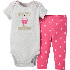 Child of Mine made by Carter's Newborn Baby Girls' Bodysuit and Pant Outfit Set 2 Pieces - Walmart.com
