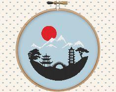 Japanese landscape cross stitch pattern pdf by GentleFeather