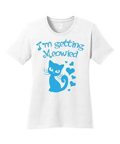 Loving this White & Blue 'Meowied' Tee on #zulily! #zulilyfinds