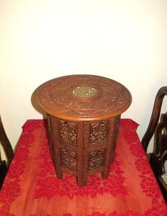 Hand carved India table, vintage round table, side table, hand made table, ornate carved table, red table, carved leaves, detailed table by ChippedPaints on Etsy
