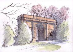 Harewood House entrance arch ~ sketch ~ John Edwards
