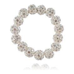 'Rockstar' Silver Pave Crystal Ball Bracelet ($61) ❤ liked on Polyvore