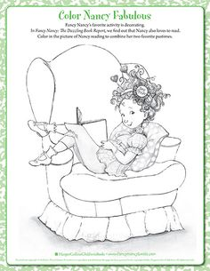 Bookworm - Printable Coloring Sheet | Fancy Nancy Printable Activities | FancyNancyWorld.com