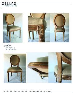silla de estilo LUIS XVI, madera patinada y lino  www.tribeca-web.com.ar