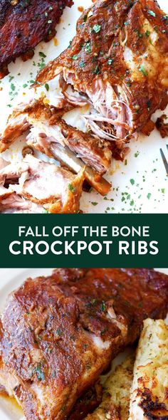 Fall off the bone Crockpot Ribs recipe. This easy and saucy rib recipe uses a slow cooker, rib rub, and a bold homemade bbq sauce.