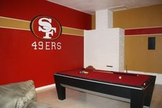 Would love to do this in our home office. One wall 49ers, one wall SF Giants, one wall SJ Sharks, one wall Golden State Warriors. :)
