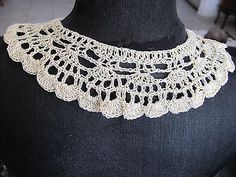 HANDMADE CROCHETED COLLAR NECKLESS SOFT CREAM COLOR+GOLD THREAD ONE OF A KIND