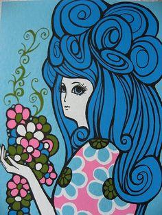 1970's girl illustration 💙