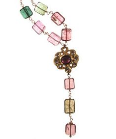 """18K, Cranberry Tourmaline and Diamond Medallion on Watermelon Tourmaline on gold filled chain.  Necklace length 16 1/2""""- 20"""" inches. Pendent length 3"""" inch. Pendent width 1"""" inch. Lobster clasp. Made in USA.  www.thesagelifestyle.com"""
