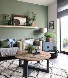 Living room - interior view in mijnhuis__enzo - Lysbeth Wijnsma - lives Room Colors, Living Room Green, Room Decor, Living Room Decor, Home Living Room, Home, Interior Design Living Room, Interior, Living Room Grey
