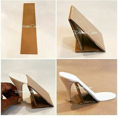 How to Make Your Own Sugar Shoe Support. Brilliant TUTORIAL via Tap this, might be helpful to Someone (How To Make Cake Ideas) Fondant Shoe Tutorial, Cake Tutorial, Shoe Template, Cake Templates, Art Template, Shoe Cakes, Cupcake Cakes, Paper Shoes, Gum Paste Flowers