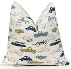 Pillows Baby Boy Nursery Boy Bedding Decorative Throw Pillow Covers Children Decor 16 x 16 - Navy Blue and Olive Green Cars. $32.00, via Etsy.
