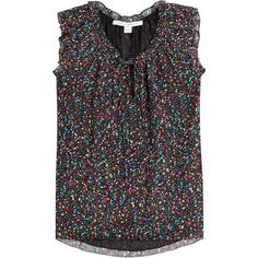 Diane von Furstenberg Printed Sleeveless Silk Blouse (14.745 RUB) ❤ liked on Polyvore featuring tops, blouses, multicolor, tie blouse, silk tie blouse, black tie blouse, frilly blouse and black top