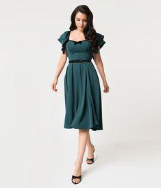 f8224148945 Micheline Pitt For Unique Vintage Hunter Green Carmelita Swing Dress