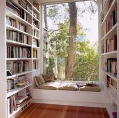 "Plenty of natural light, overlooking a lush tree. <What type of  tree would you love to plant outside your window nook?>  ---Want more Nook goodness? Follow us @The-Daily-Book-Nook  -- ""Fill your mind with lovely things"" <three rivers deep>"