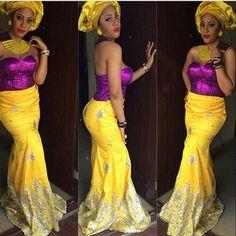 Nigerian wedding yellow & purple aso-ebi colors ~Latest African fashion, Ankara, kitenge, African women dresses, African prints, African men's fashion, Nigerian style, Ghanaian fashion ~DKK