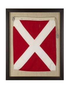 WSH <3 our framed vintage signal flags from Germany! Limited quantities! Signal Flag Four. #WilliamsSonoma
