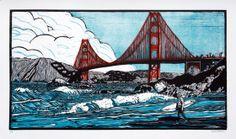 Golden Boy 2 / San Francisco / bridge - linocut print - Eric Rewitzer, U. Linocut Prints, Poster Prints, Art Prints, Posters, Fish Art, 3 Fish, Raglan, Affordable Art, Print Artist