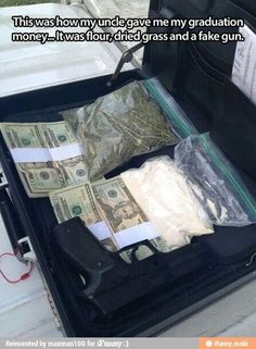 Because getting a suitcase full of money, drugs and a gun is always needed....